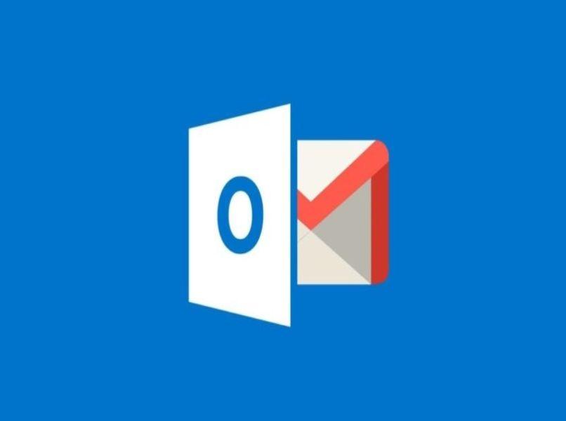 logo de outlook y gmail en fondo azul