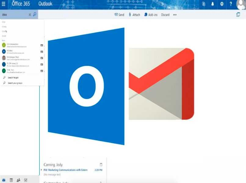 ventana de correo y logo de outlook con gmail