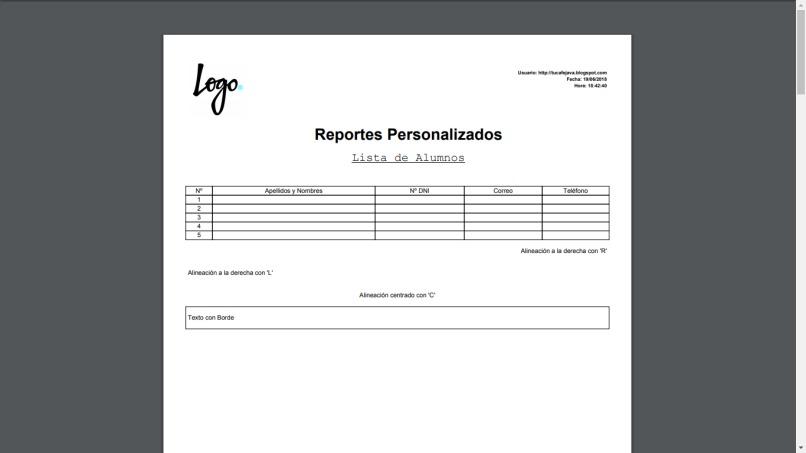 lista de reportes personalizados pdf