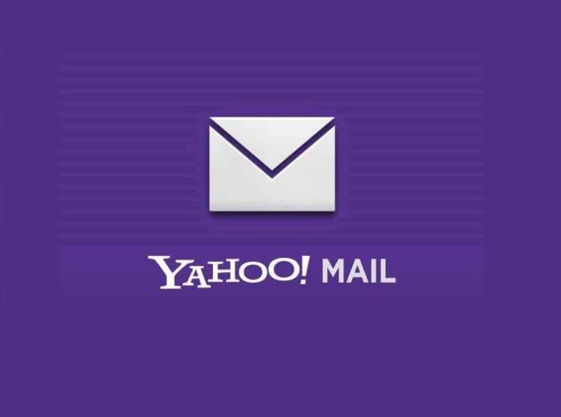 logo de yahoo mail blanco con fondo color lila