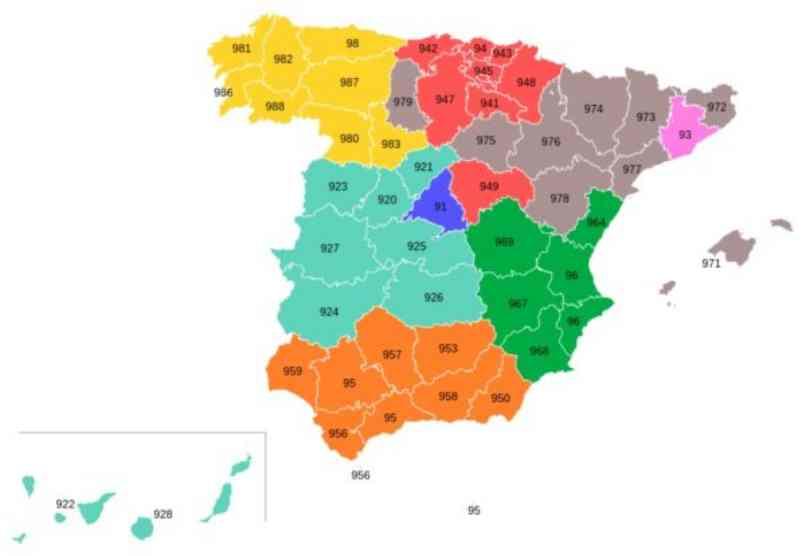 mapa distintos prefijos