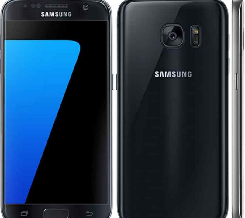 celular negro pantalla azul