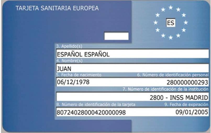 Tarjeta sanitaria europea que identifica a una persona