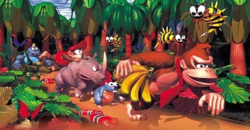 platanos graficos monos palmeras donkey kong