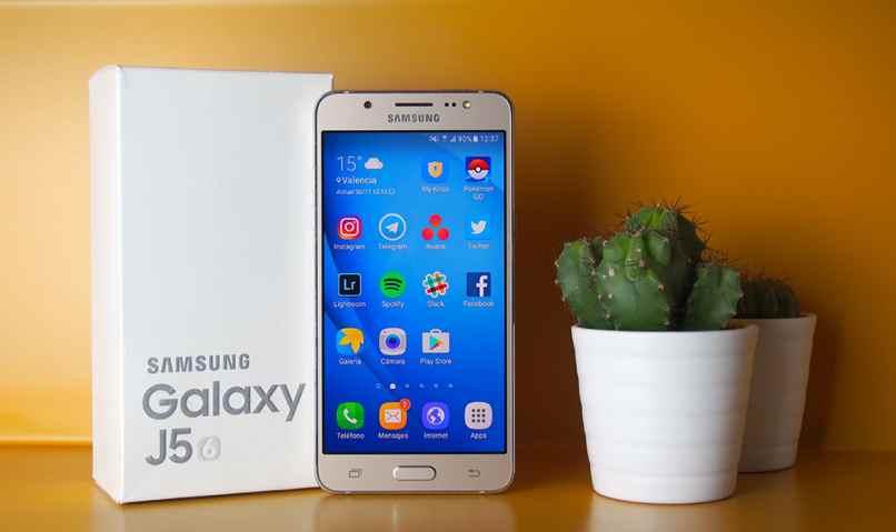 movil samsung j5 dorado caja celular blanca