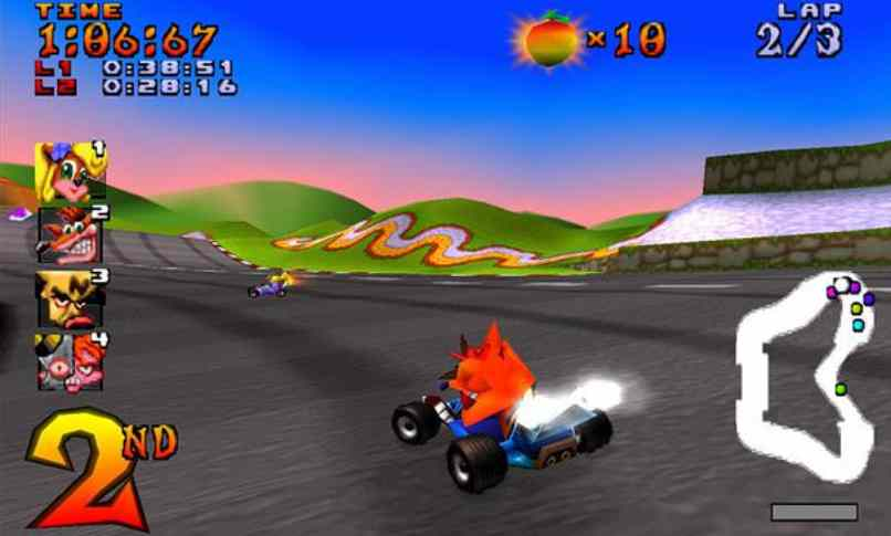 carrera videojuego crash team racing segundo lugar