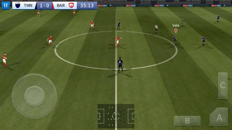 juego dream league soccer 16 en funcionamiento