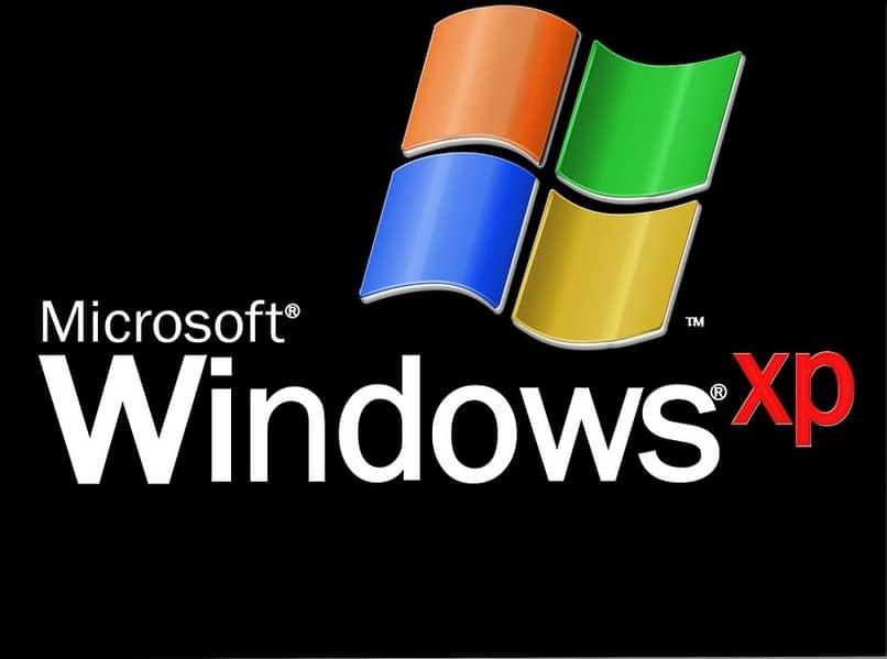 logo de windows xp con fondo negro