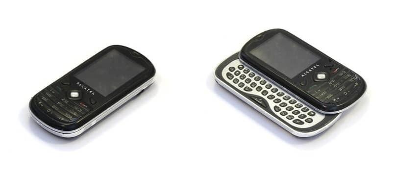moviles alcatel color negro y blanco