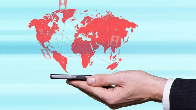 movil negro continentes mundo conectividad