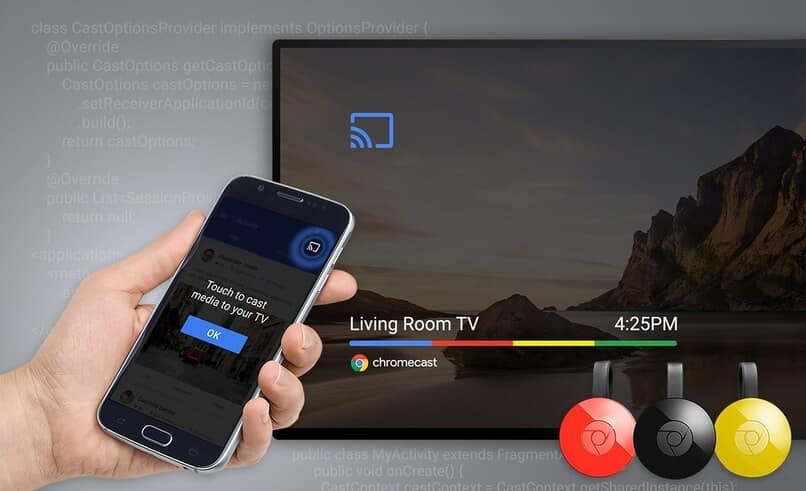 smartphone conectado a televisor