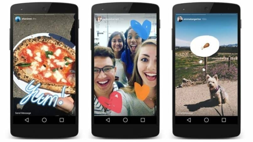 moviles con historias de instagram en sus pantallas