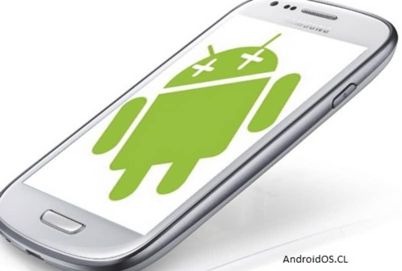 samsung color blanco con el icono de android en la pantalla