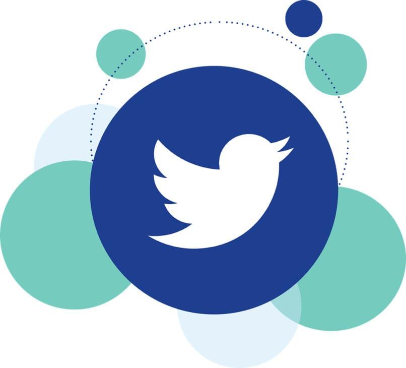 logo de twitter con esferas azules a los lados