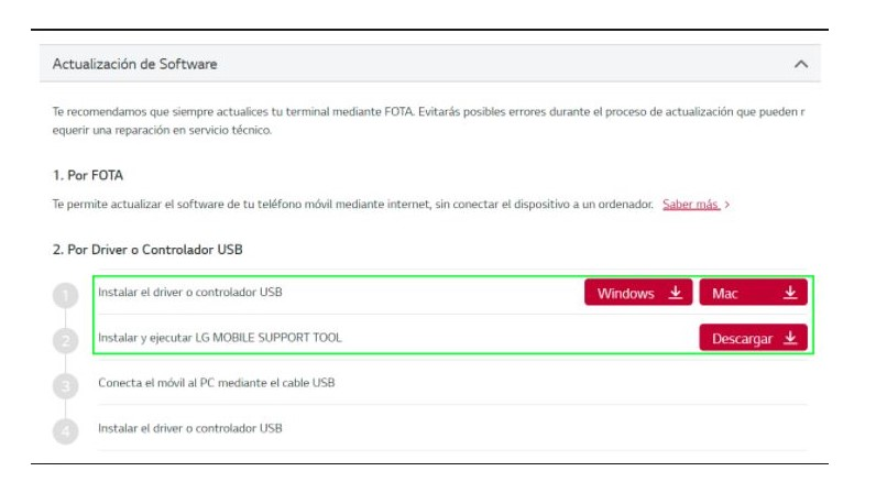 actualizar drivers lg