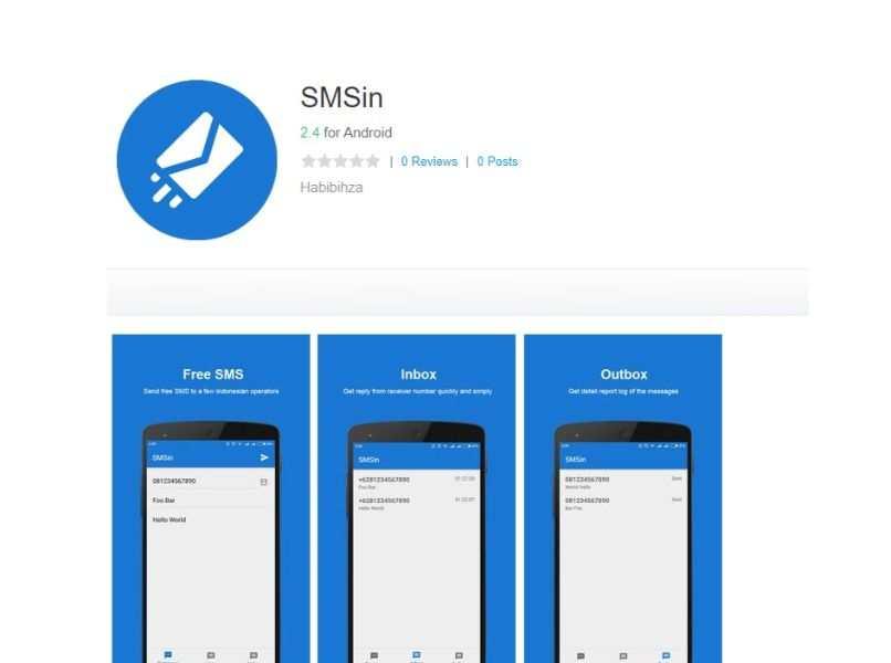 logo de aplicacion smsin color blanco con azul y capture de pantallas de android