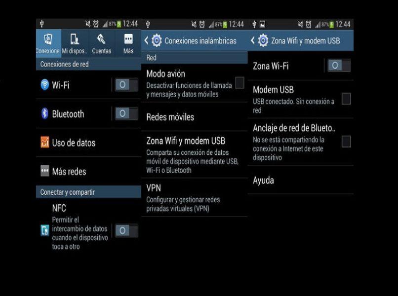 capture pantalla configuracion conexiones inalambricas red wifi fondo negro