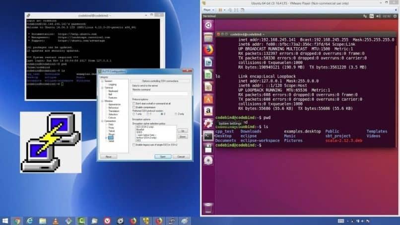 multiples pantallas para instalar y configurar putty ubuntu en windows
