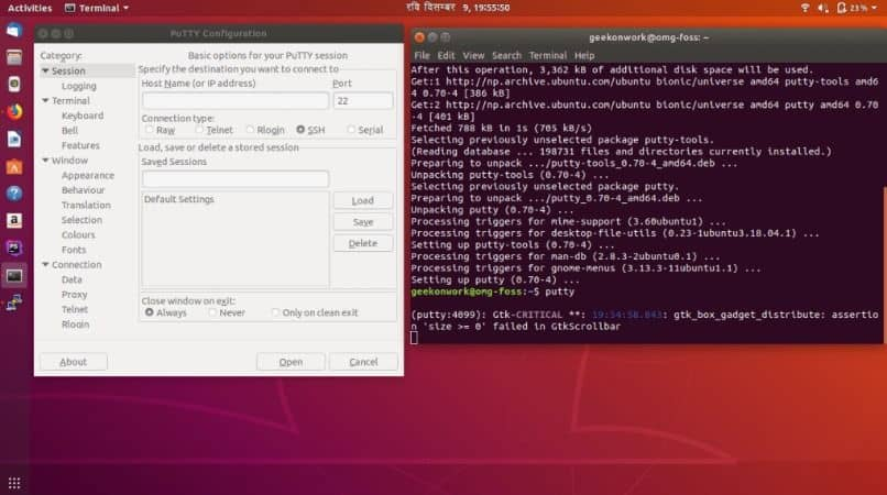 imagen de putty ubuntu para configurar en windows