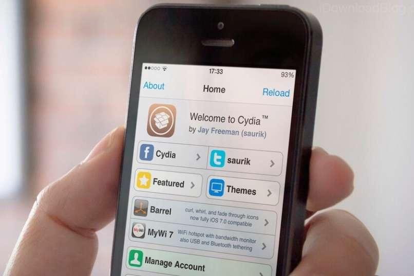 dispositivo movil apple negro cydia app instalada