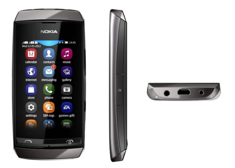 dispositivo movil nokia asha color gris tactil pantalla menu aplicaciones