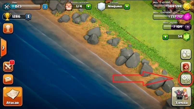 cargar la aldea en clash of clans