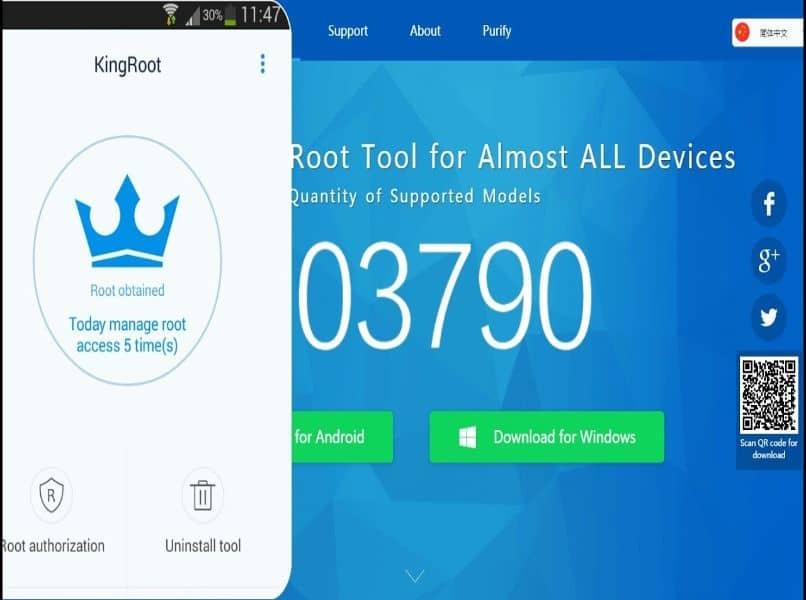 aplicacion y programa de kingroot en movil y pc