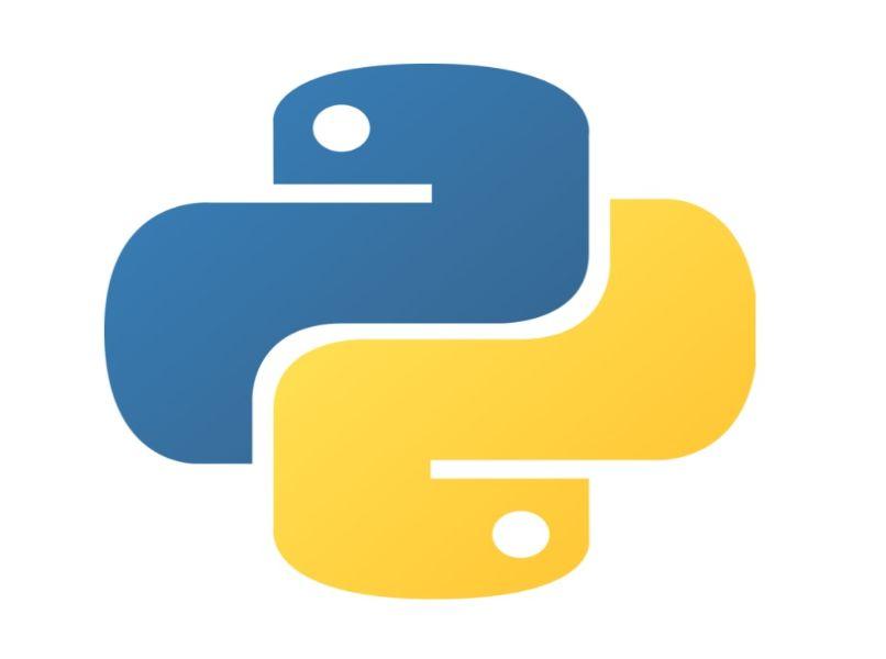 logo python azul amarillo con fondo blanco