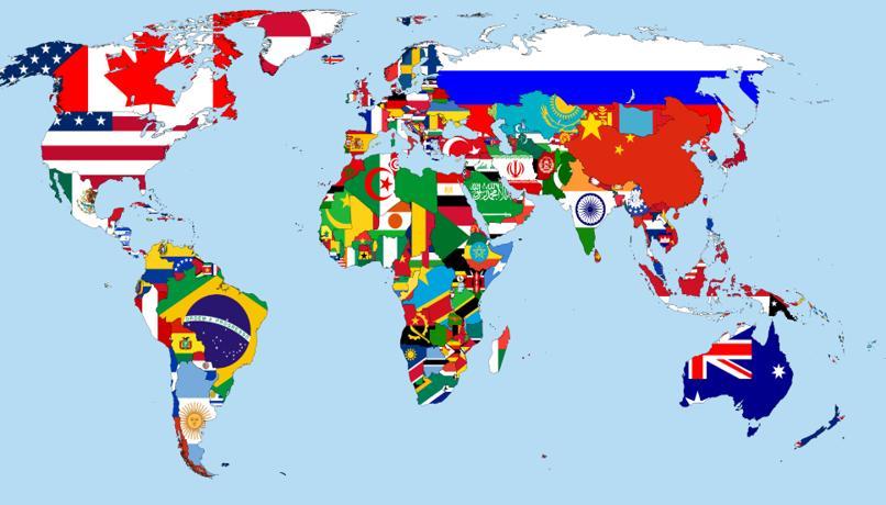 muchas banderas en el mapa mundial