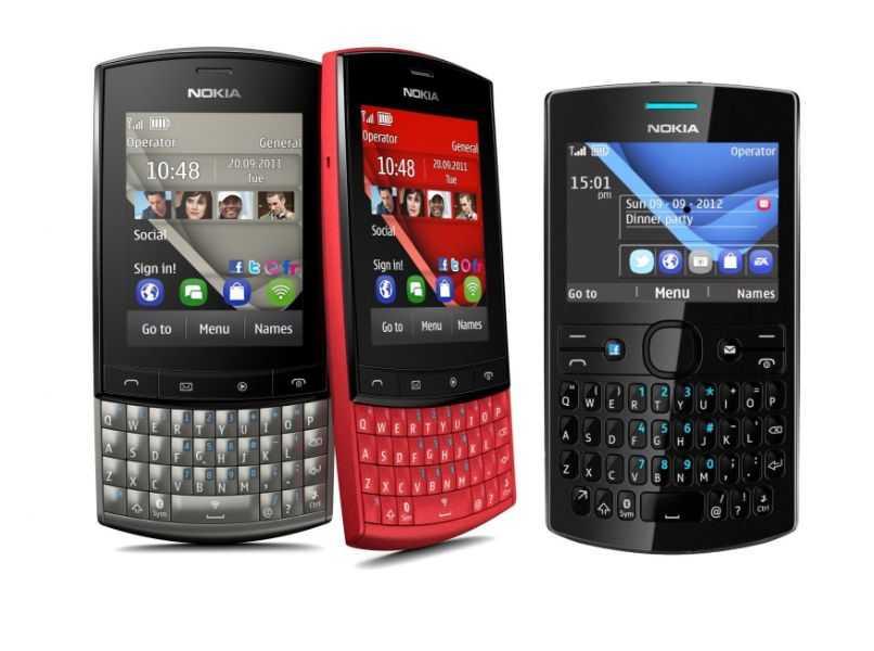 telefono nokia asha gris rojo y negro en fondo blanco