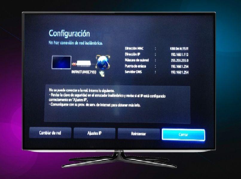 smart tv negro menu configuracion red internet fondo colorido