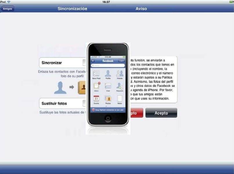 movil android aviso amigos sincronizacion facebook