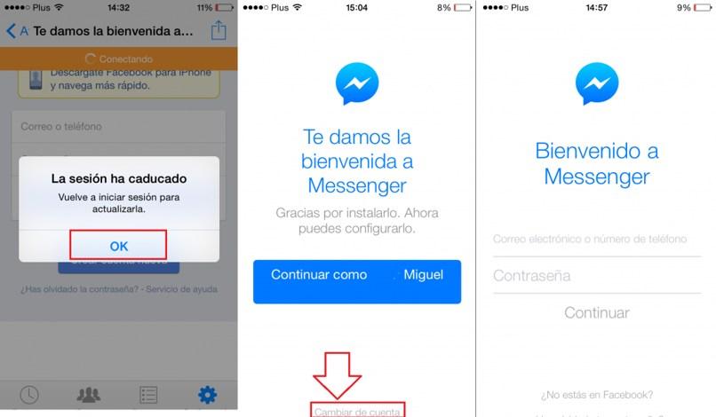 cerrar sesión messenger android