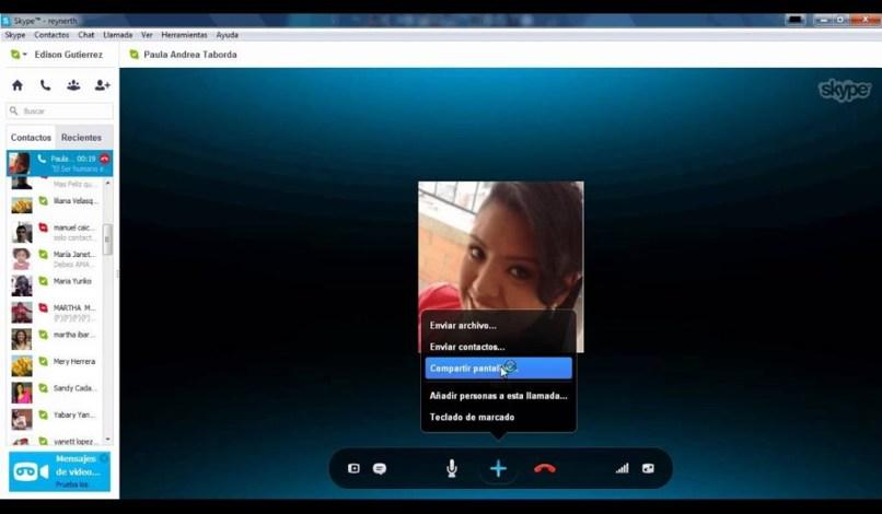 compartir pantalla llamada skype