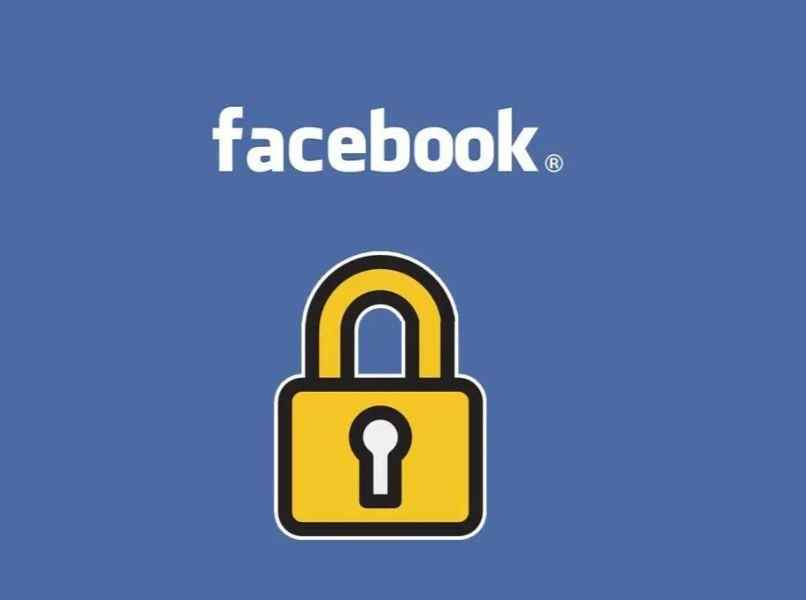 letras blancas logo facebook icono candado amarillo fondo azul