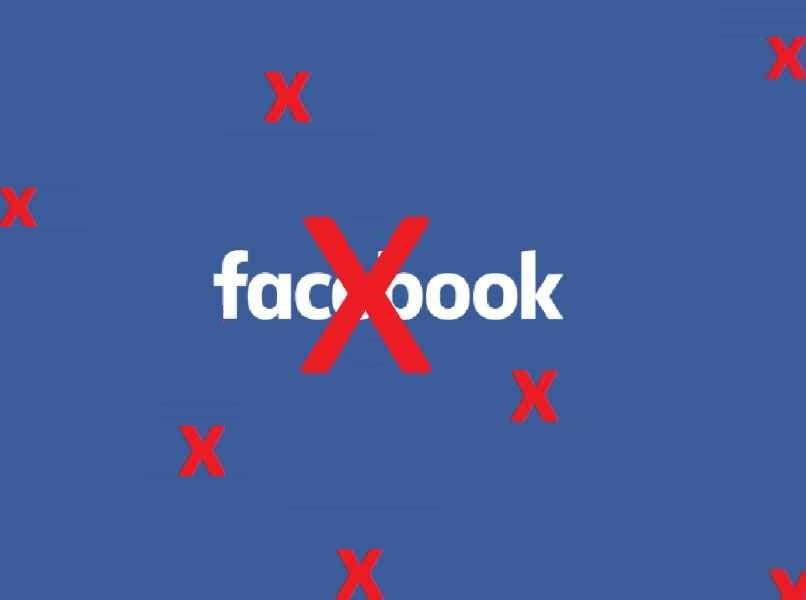 logo facebook letras blancas equis roja encima fondo azul
