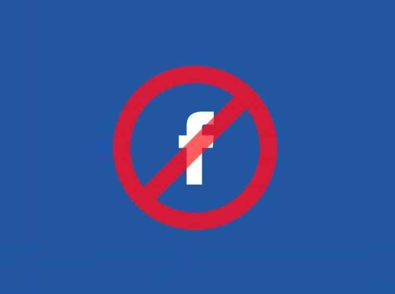 logo facebook blanco circulo rojo restringido fondo azul