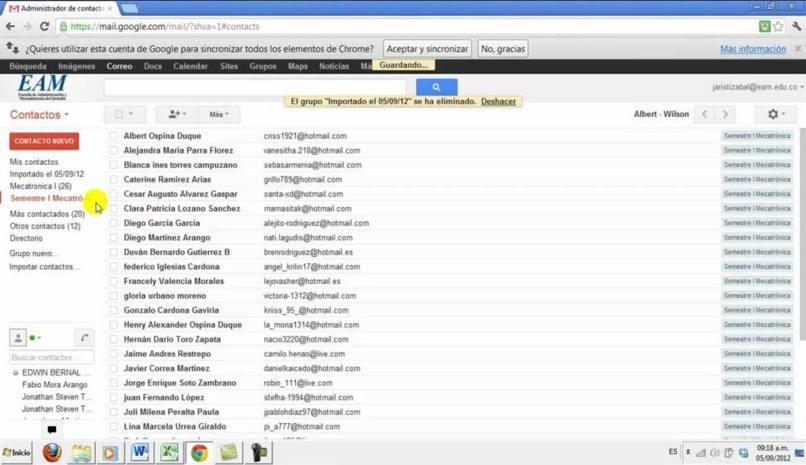 crea lista direcciones hotmail