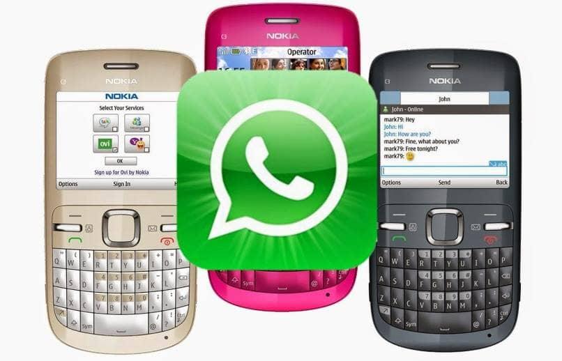 tres equipos varios colores nokia asha whatsapps