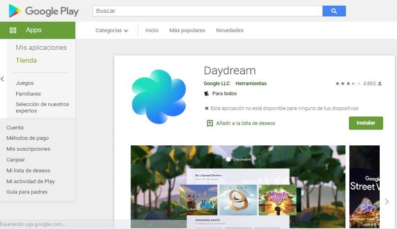 instalar daydream movil android