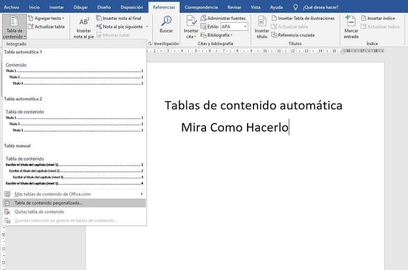 crear tablas de contenido automatico en word